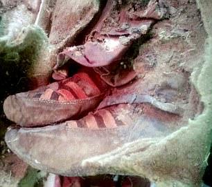 Arkeolog di Mongolia secara perlahan membuka bungkusan mumi seorang wanita kuno yang diduga ditemukan diawetkan di Pegunungan Altai.  Sejauh ini hanya satu tangan dan kakinya di sepatu modern-looking (foto) yang terlihat, namun para ahli percaya bahwa tanggal find sekitar 1.500 tahun yang lalu