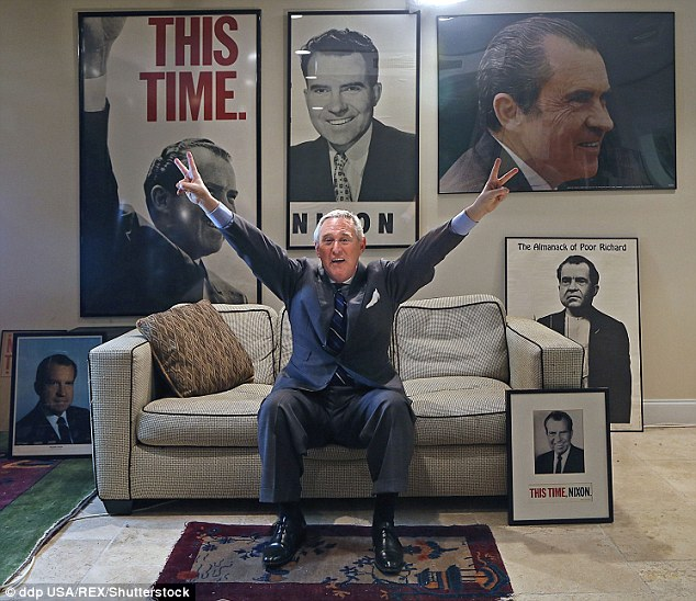 Roger Stone, pictured, claimed the Clinton's murdered JFK Jnr because he was planning a senate campaign in the same New York seat that had been identified by Hillary and the former first lady feared she would lose