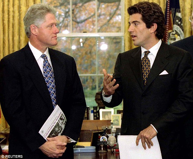 President Bill Clinton, left, invited JFK Jr, right, into the Oval Office several times while president