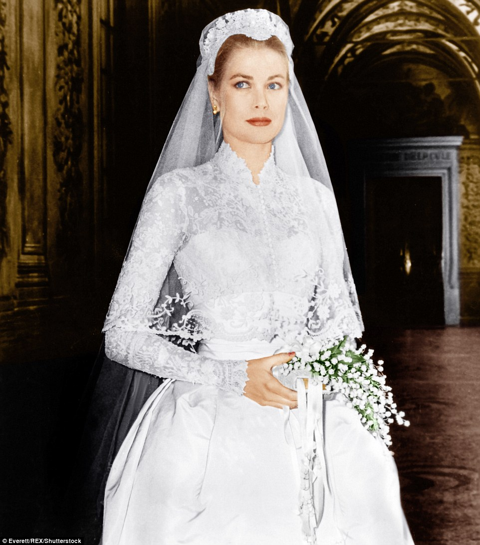 Princess: Philadelphia-born Kelly wore a white dress that took 36 seamstresses three weeks to make, and used 300 yards of antique Belgian lace and 150 yards of silk, taffeta and tulle. It was provided by MGM Studios, and created by an Oscar-winning costumer
