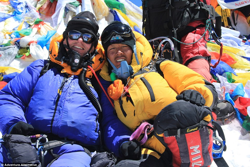 Gavin and his friend Pasang on the summit, having made three Everest trips together
