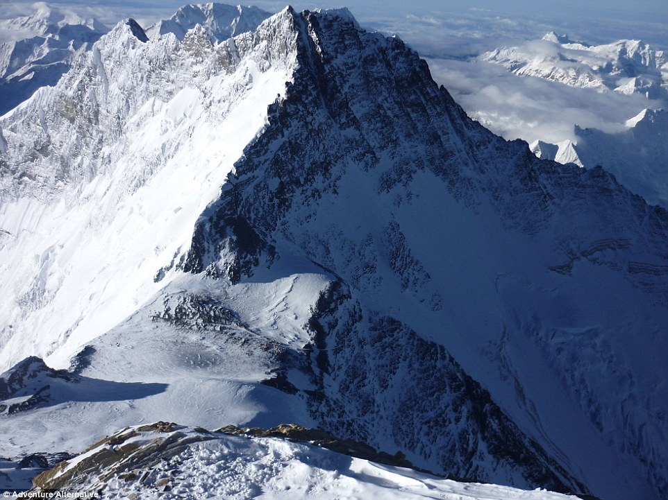 Looking down at the south col from the Balcony at 8,500 metres (27,887 feet).Once on the South Col, climbers have entered the death zone, so called because of the effect of altitude on the body