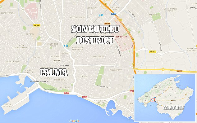 A team of 15 Spanish police officers were involved in the raid on the apartment in the Son Gotleu district of Palma early this morning