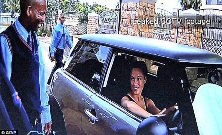 CCTV images shows Miss Steenkamp arriving at Pistorius house on February 13, wearing what is believed to be the black vest top she was later found wearing by police
