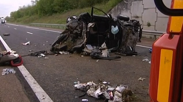 A 31-year-old man and two children, aged four and 10, were killed in a crash, pictured, near Dijon, France