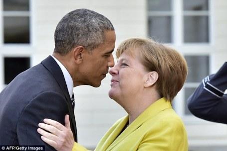 Image result for obama and merkel embrace