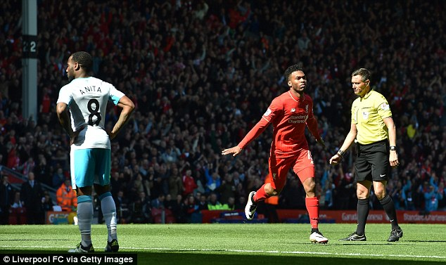 Liverpool striker Daniel Sturridge is the only Englishman in the top 20 with a minute-to-goal ratio of121.73