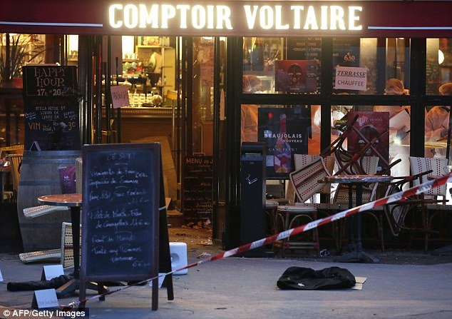 The images of the death of Brahim Abdeslam, 31, were captured by CCTV cameras at the Comptoir Voltaire brasserie on November 13th last year.