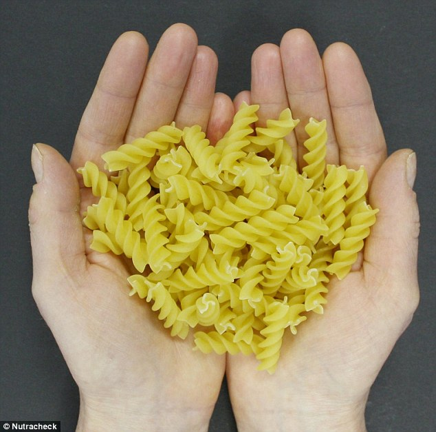 A portion of pasta is 70g, but it will expand to look like more after cooking, and has 247 calories