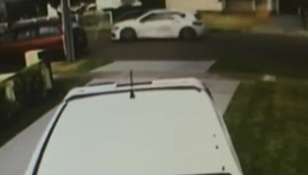 Police released CCTV footage showing the suspected getaway car used (driving along the road)