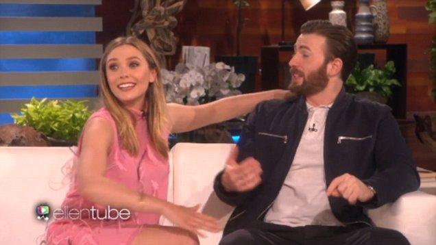 Image result for chris evans elizabeth olsen engaged