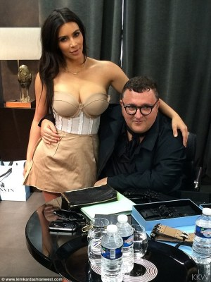 Hanging with the master: Kim with withAlber Elbaz, then of Lanvin, in 2014