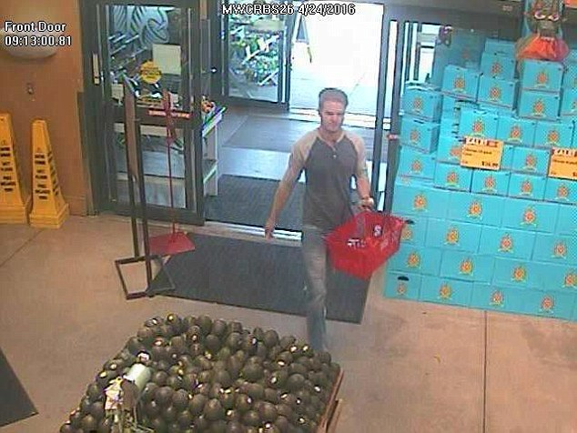 The man is seen here entering the store on April 24 at 9.13 a.m. The FBI says they want to speak to the man, but do not know if he will face any charges