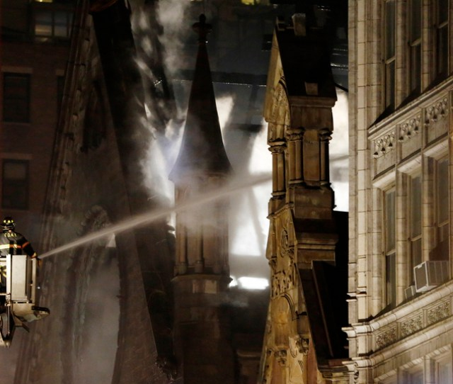 Firefighters Battle A Three Alarm Fire In The Historic Serbian Orthodox Cathedral Of St