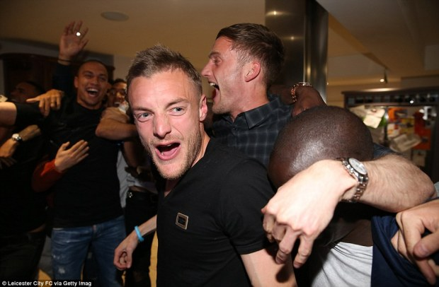 The newly-crowned champions went wild at the final whistle, as pictures and videos emerged of the jubilant players at Vardy's house. The players were seen jumping around singing 'Championees' after the final whistle was blown at the Chelsea game