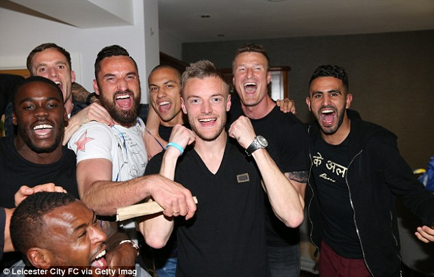 Jamie Vardy (front) is really having a party along with tens of thousands of Leicester City fans around the world as The Foxes' 5,000/1 dream became a reality tonight when Chelsea drew 2-2 with Tottenham Hotspur