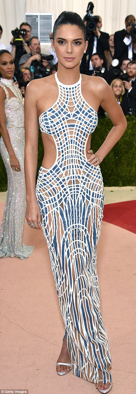 Statuesque: Kendall Jenner sizzled in a Versace gown with sexy cut-outs