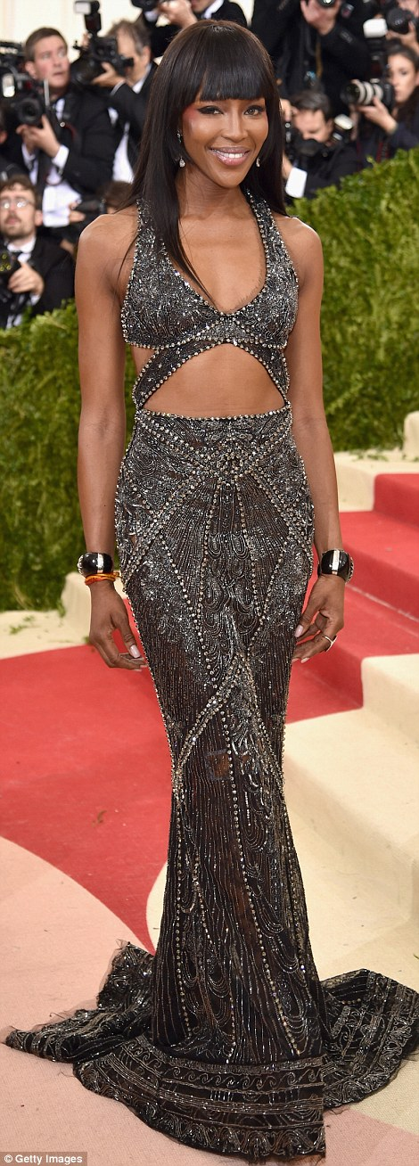 Precious metals: Naomi Campbell stunned in Roberto Cavalli while Emma Stone took the plunge in Prada
