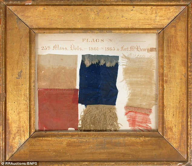 A section of the original Star Spangled Banner which flew over Fort McHenry in Baltimore when the Royal Navy attacked between September 12 and September 14, 1814