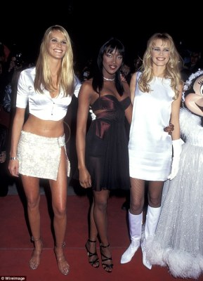 Icons: The three supermodels were pictured at the opening of The Fashion Cafe in New York in 1995