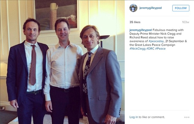 Mr Gilley (right) is seen here meeting with then Deputy Prime Minister Nick Clegg (centre) and Richard Reed, the founder of the Innocent drinks empire