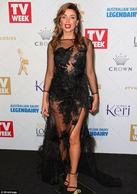 Striking:Danni Minogue proved to be an arresting sight courtesy of her embellished sheer gown that exposed plenty of flesh as she arrived at Melbourne's Crown Casino ahead of the 2016 TV Week Logie Awards on Sunday evening