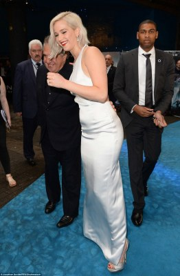 Had you worried there: She laughed off the blunder with the fellow red carpet stars