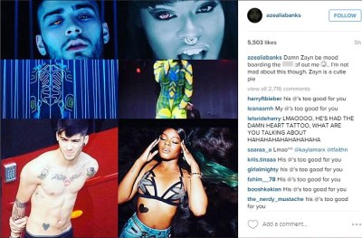 Reaching: While the singer clearly took inspiration from the Tron franchise, Azeala failed to agree as she posted mirror images from Zayn's video and her own work