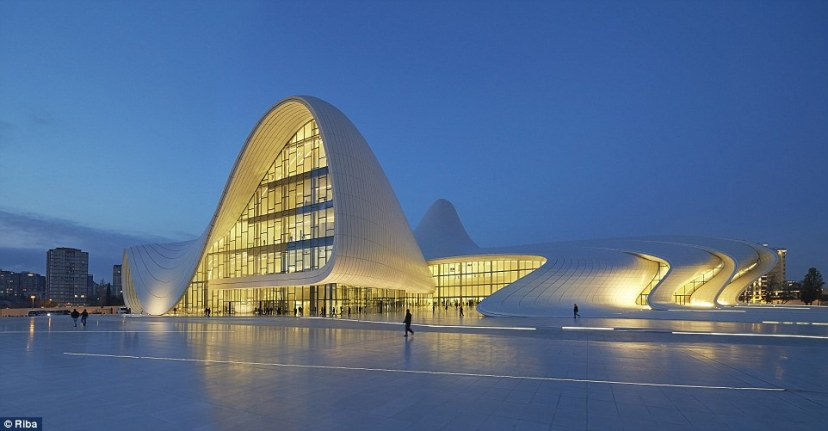 The Heydar Aliyev Centre in Baku, Azerbaijan, was designed by Iraqi-born British architect Zaha Hadid, who died earlier this year. The cultural centre, which hosts concerts and exhibitions, is named after the former President of Azerbaijan