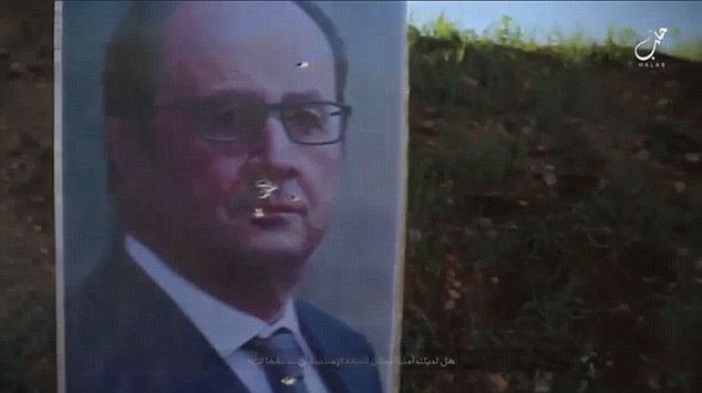 The targets were posts adorned with the pictures of Western leaders, such as French president Francois Hollande (pictured)