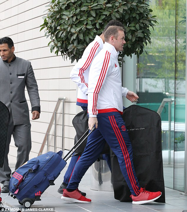Wayne Rooney arrives at The Lowry Hotel ahead of the re-arranged game after the previous bomb scare