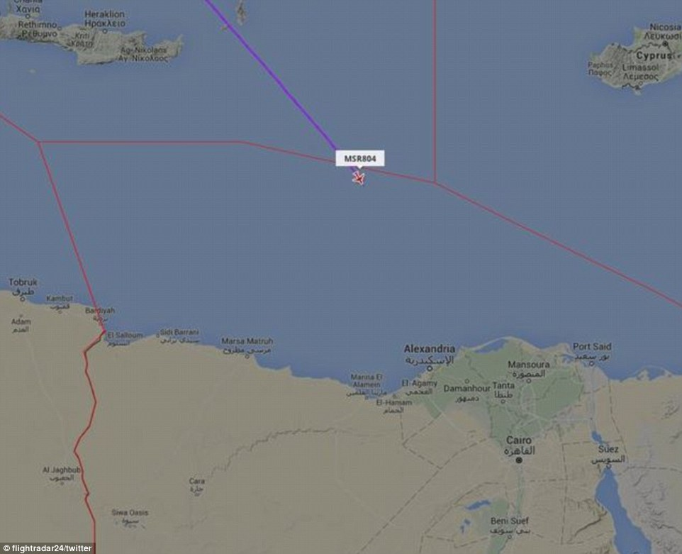 A closer locator map shows where the flight lost contact with radars around 170 miles from the the Egyptian coast