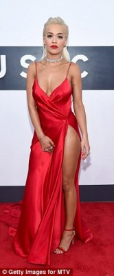 Seeing double: Bella's show-stopping Alexandre Vauthier silk dress was previously worn by British pop princess Rita Ora to the2014 MTV Video Music Awards in Los Angeles