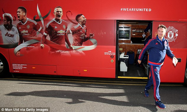 Van Gaal arriving at the team hotel not far from Wembley ahead of the FA Cup final