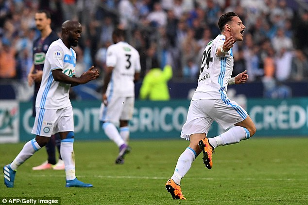 Newcastle loanee Florian Thauvin (right) drew Marseille level in te first half with a deflected shot