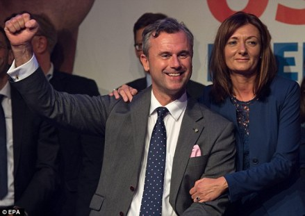 FPO leader Norbert Hofer, center, is leading in presidential polling has proposed closing the border to migrants.  Nationalist Parties Surge as Europeans Take Their Countries Back 34812ADE00000578 3603884 image a 54 1463957525899