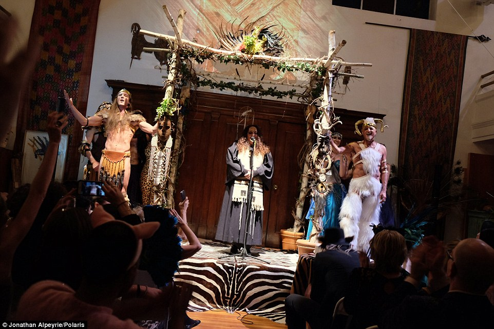 Surrounded by hundreds of friends dressed in faux fur, feathers and LED-lit animal costumes, the couple took their vows and was blessed under Michel¿s ancestral tallit. Some twenty percent of the guests were current or former lovers of either groom