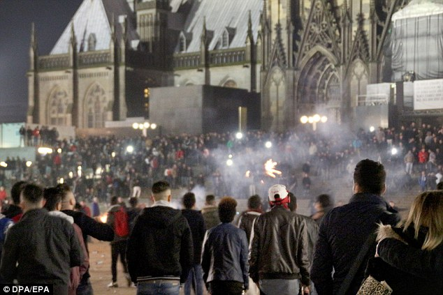 The incident had similarities to events in Cologne (pictured) on December 31 - when a number of young women were targeted in the concourse of the city's main railway station