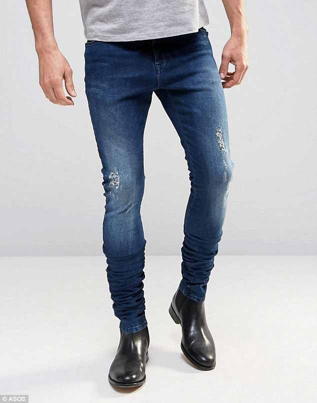 New fashion? ASOS say the jeans are a new menswear style called 'Super Skinny Stacker Jeans'