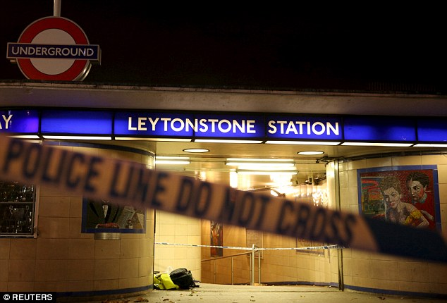 Muhiddin Mire, 30, from Leytonstone is accused of trying to kill a 56-year-old musician at Leytonstone Tube station (pictured) on December 5 last year