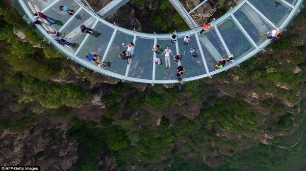 Beijing gorge captured in aerial video as glass-bottom ...
