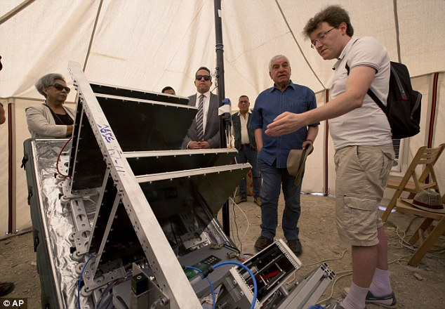 Scientists have been using a muon detecting machine (pictured) to scan the internal structure of the Great Pyramid of Giza