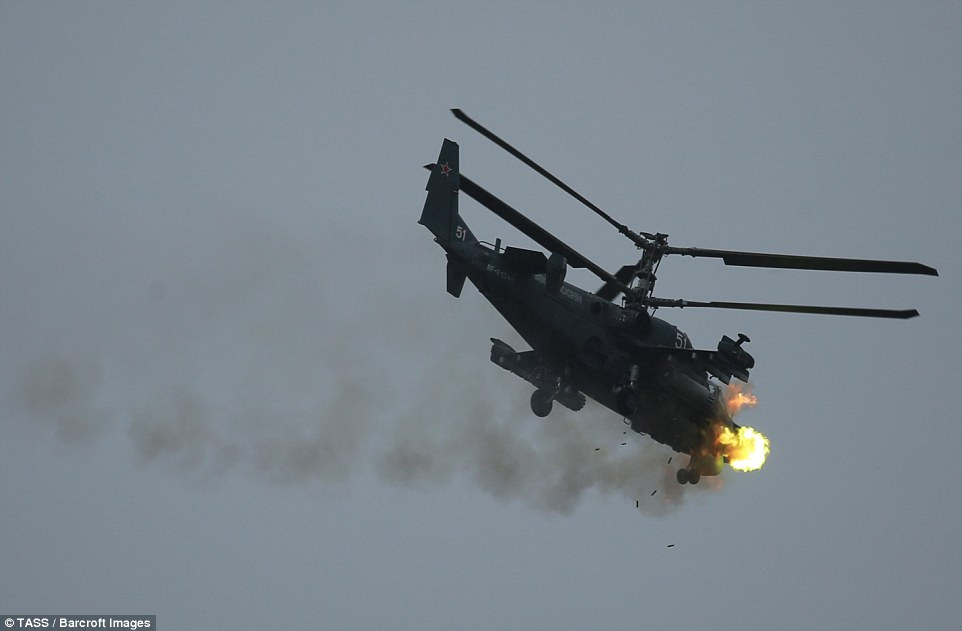 A majestic Kamov Ka-52 Alligator helicopter swept through the skies at the contest, which was originally held in Russia in 2013