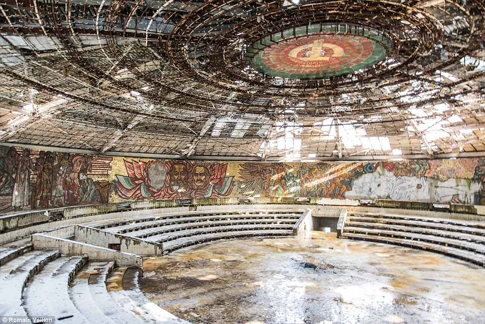 Veillon took this shot when he visited the derelict amphitheatre at the UFO-shaped Buzludzha Monument in Bulgaria