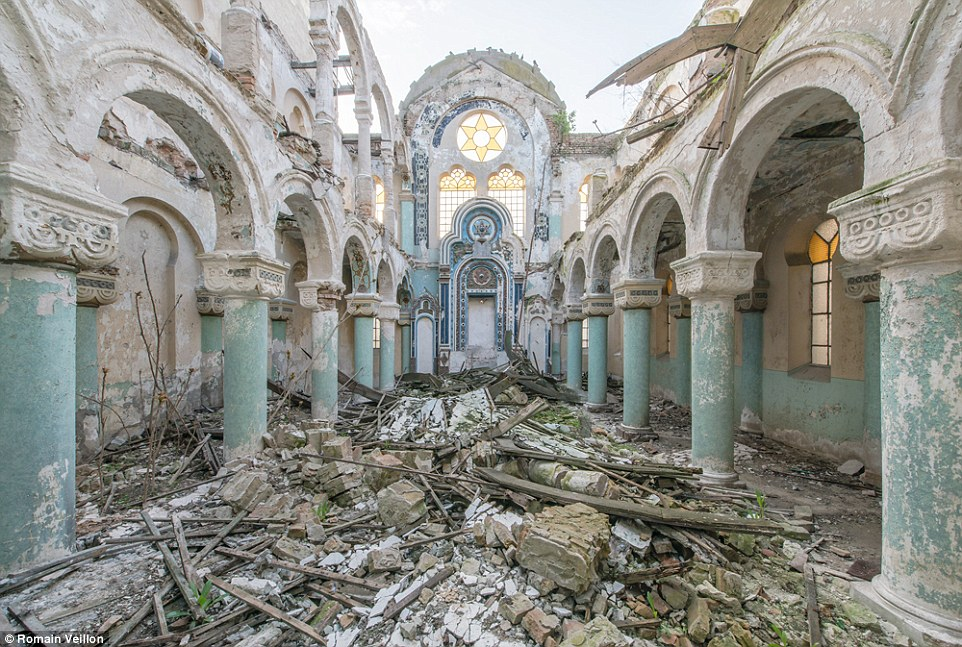 Veillon snapped photos of several abandoned buildings when he visited Romania, including this church that no longer has a roof