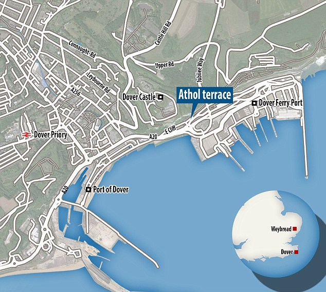 Abroad? There are fears Qazimaj may have fled to France, possibly with Mrs Stuart, after police discovered his car in Athol Terrace, Dover  (main). Mr Stuart's body was found near his home in Webread, Suffolk (inset)