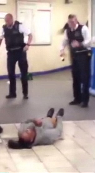 The knifeman was later Tasered by police officers