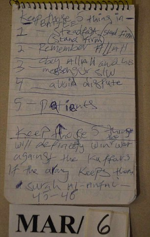 The knifeman had hand written a list of five things 'needed in battle' which was found in his home