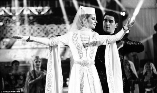 The happy couple 23-year-old Sargis Karapetyan and his Georgian bride, 25-year-old Salome Kintsurashvili performed a traditional dance for their guests
