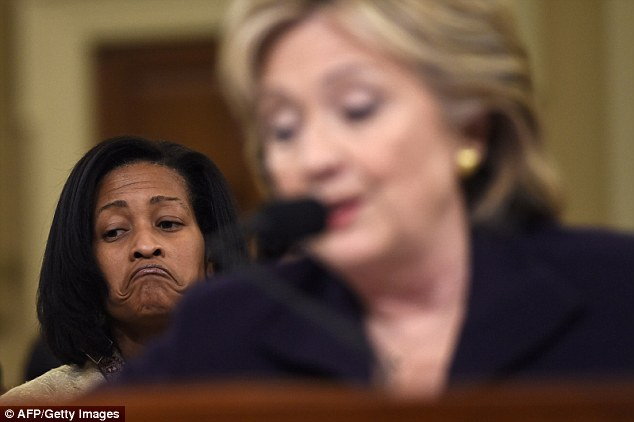 As ABC poked around,the press aide handling the request, Jamie Mannina, received this explanation for the post: 'The true answer is that S staff (Cheryl Mills) added him. Mills is seated here behind Clinton as she testifies before Congress on Benghazi in October of 2015